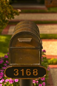 Bronze Mailbox in front of the house